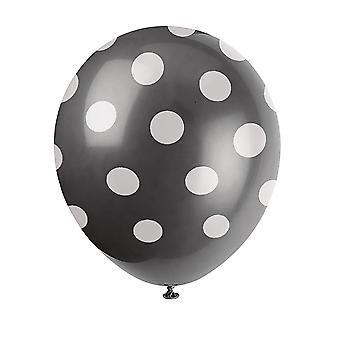 Unique Party 12 Inch Polka Dot Latex Balloons (Pack Of 6)