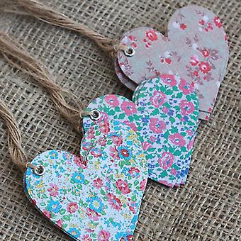 Heart Shaped Vintage Floral Gift Tags x 15 - Wedding Place Setting