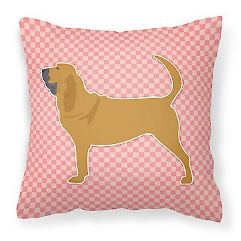 Bloodhound Checkerboard Pink Fabric Decorative Pillow