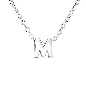 """M"" - 925 Sterling Silver Plain Necklaces"