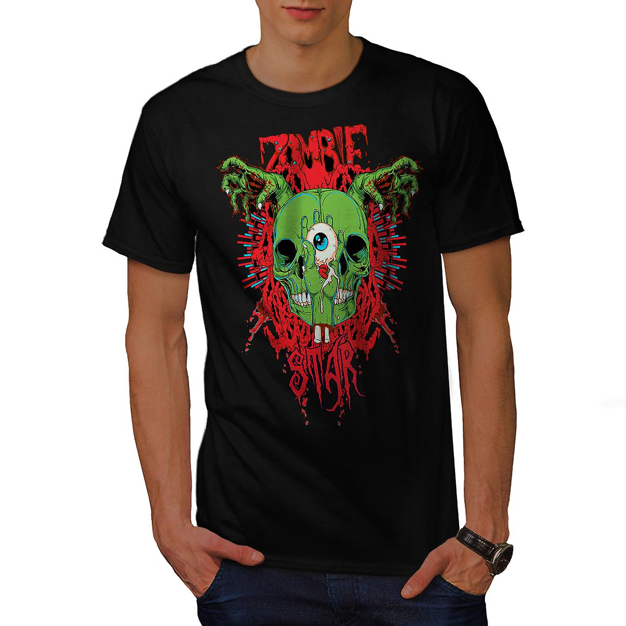 Skull Star Dead Zombie Men Black T-shirt | Wellcoda