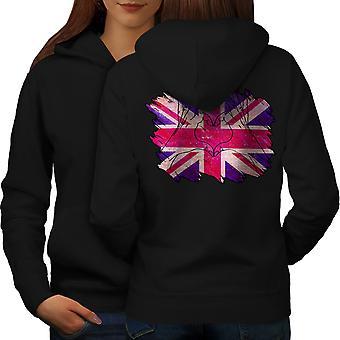 United Kingdom Heart Women BlackHoodie Back | Wellcoda
