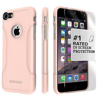 SaharaCase iPhone 8 y 7 caja de oro rosa, clásico paquete de Kit de protección con vidrio templado de ZeroDamage