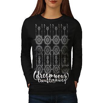 Dream Art Women BlackLong Sleeve T-shirt | Wellcoda