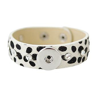 Leather Horsehair Bracelet For Click Buttons Kb0839-w