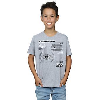 Star Wars Boys TIE Fighter X1 Blueprint T-Shirt