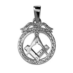 Silver 32x25mm Masonic emblem in a circle Pendant