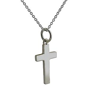 Silver 17x10mm plain solid block Cross with a rolo Chain 16 inches Only Suitable for Children