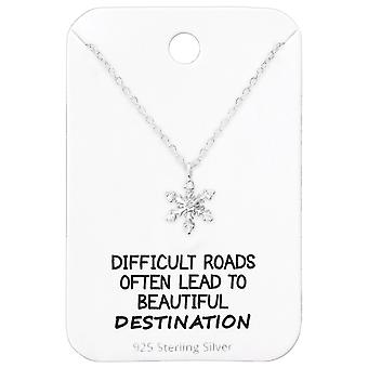 Snowflake Necklace On Motivational Quote Card - 925 Sterling Silver Sets