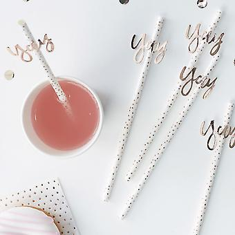 Rose Gold Yay! Paper Straws - Pack of 16