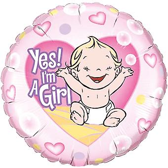 Foil balloon birth of Yes, I ´ m a girl pee party about 45 cm
