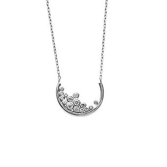 Rhodium woman 925/1000 silver necklace and white Zirconium oxides