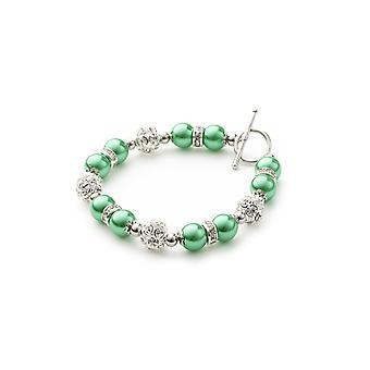 Bracelet 1 Rang en Perles Vertes, Cristal et Plaqué Rhodium