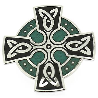 Broscher lagra grön emalj & Silver Celtic korsa huvud brosch