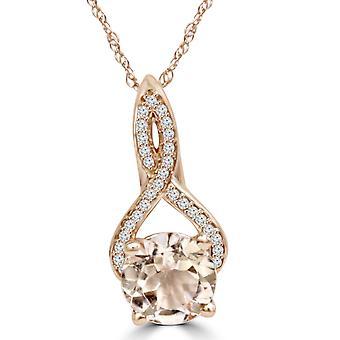 8MM Morganite 1/10 Ct diamant Vintage Infinity vedhæng 14K Rose Gold (K-L, I2-I3)