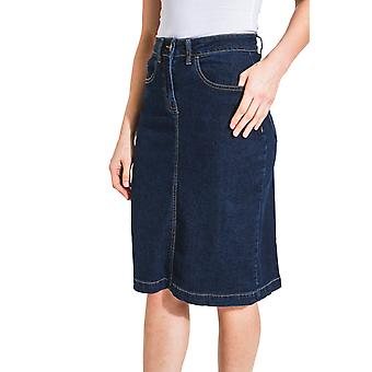 USKEES NANCY Mid-Length Denim rok - Darkwash rechte Jean rok met stretch