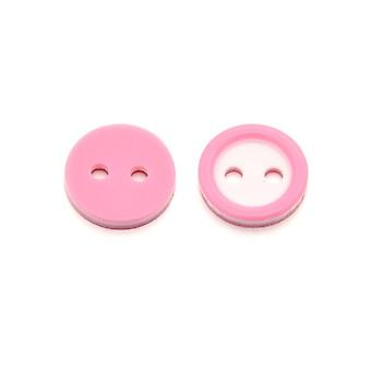 Packet 10 x Pink/White Resin 11mm Round 2-Holed Sew On Buttons HA14480