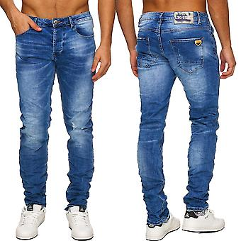 Men Used blue Jeans Pants Destroyed Slim Denim Torn Cut out Ripped NEW