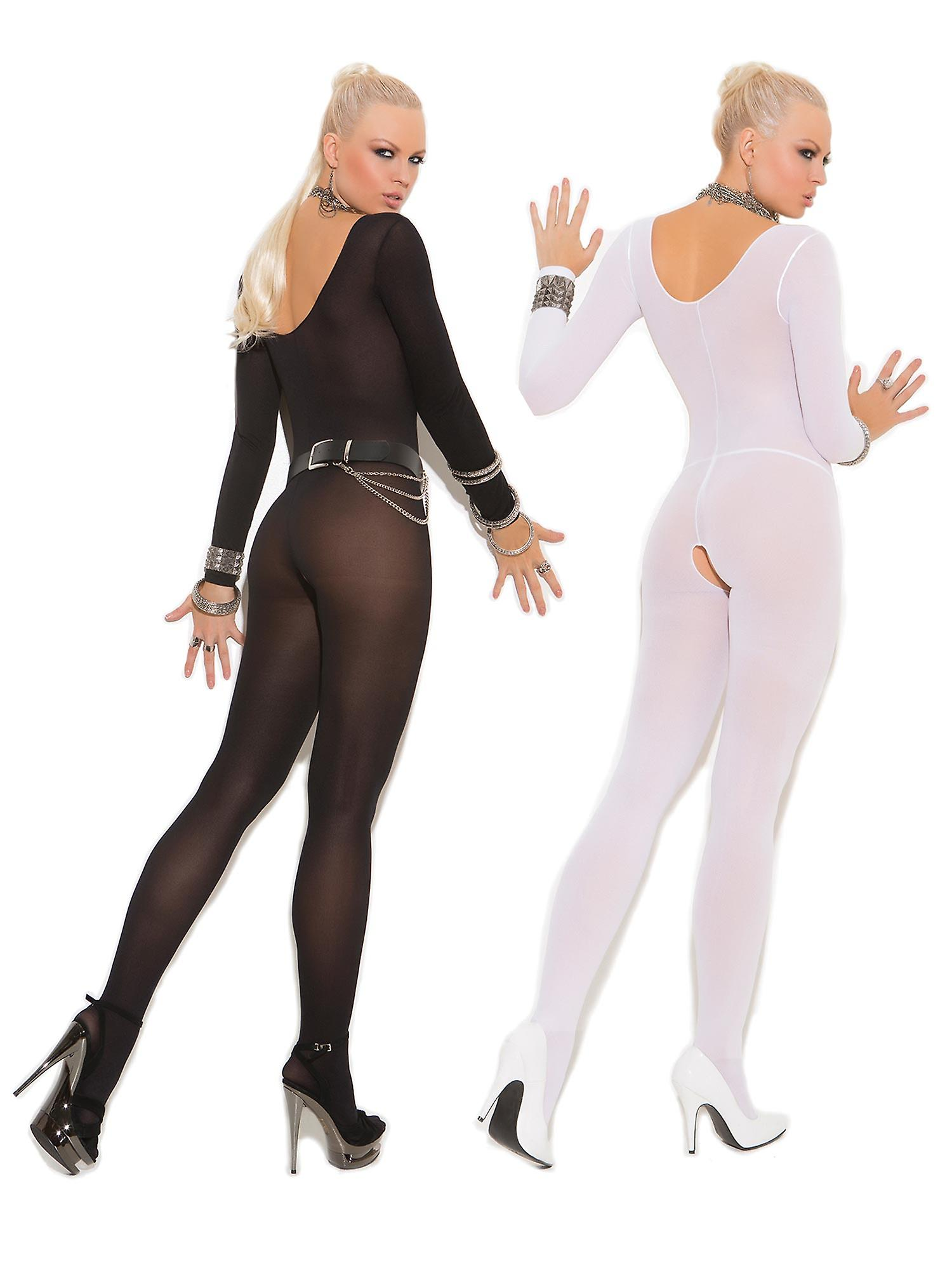 fba6e0e06df Womens Bodystocking Set- Sexy Long Sleeved Sheer Crotchless Bodysuit  Lingerie Pack of 2