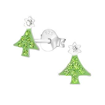Christmas Tree - 925 Sterling Silver Crystal Ear Studs