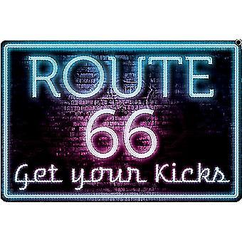 Route 66 Neon Get Your Kicks Embossed Metal Sign