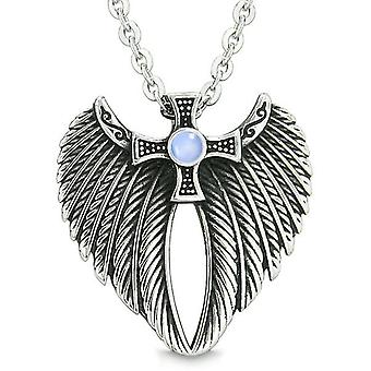 Angel vinger Celtic Viking Cross magiske kræfter Amulet himmelblå simulerede Cats Eye vedhæng halskæde