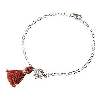 925 Silver - Lotus Flower - tassel - bracelet - red - brown - YOGA