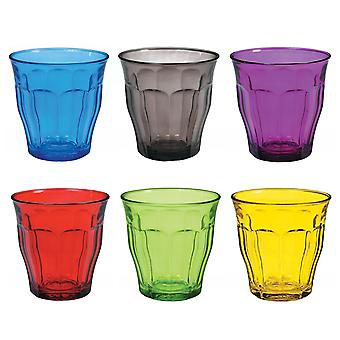 Duralex Set of 6 Picardie Tumblers, Colors 25cl