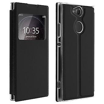 Fenster flip Flip Brieftasche Fall mit Ständer für Sony Xperia XA2 - schwarz