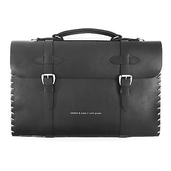 Anchor & Crew Large Graphite Black Rufford Leather and Rope Briefcase