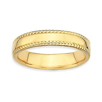 Sterling Silver Polished Patterned Stackable Expressions Gold-Flashed Ring - Ring Size: 5 to 10