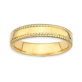 Sterling Silber poliert gemusterten stapelbar Ausdrücke Gold blitzte Ring - Ring-Größe: 5 bis 10