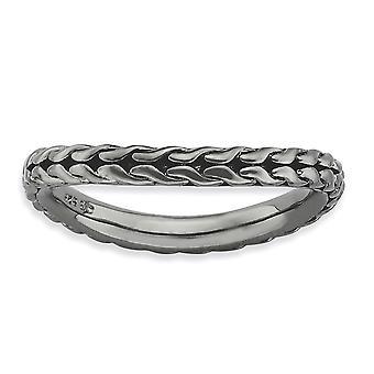 placcatura in argento modellato rutenio 2,25 mm placcato impilabile espressioni Polished Black Wave anello - formato dell'anello: 5