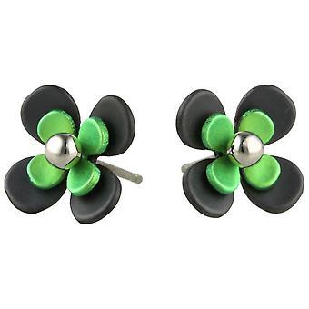 TI2 titanio nero indietro quattro petalo fiore orecchini - verde fresco