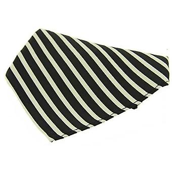 David Van Hagen Striped Silk Handkerchief - Black/White
