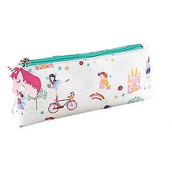 Girls white unicorns and fairies pencil case