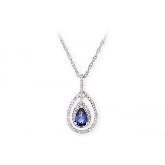 Star Wedding Rings Sterling Silver Necklace With Sapphire Gem Stone Pendant And Diamonds