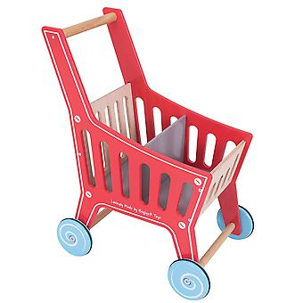 Bigjigs Toys Wooden Supermarket Shopping Trolley Pretend Role Play Cart Shop