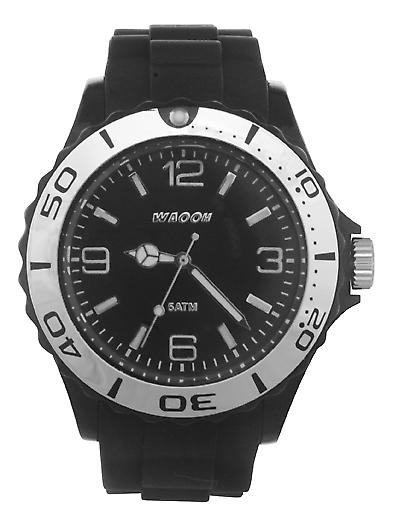 Waooh - Silver Bezel Watch MC42 Silicone Bracelet 42mm