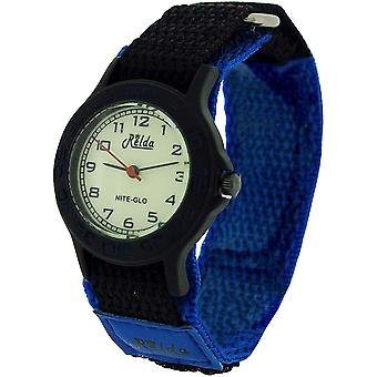 Relda Nite-Glo Quartz Luminous Dial Blue & Black Easy Fasten Boys Watch REL54