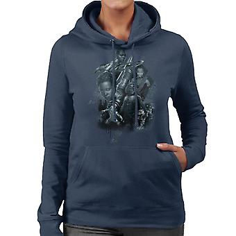 Marvel Black Panther Grayscale Battler Montage Women's Hooded Sweatshirt