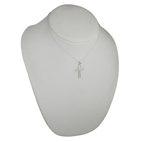 Silver 28x17mm plain pierced Ankh or Peace Cross with a rolo Chain 16 inches Only Suitable for Children