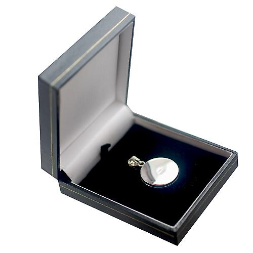 Silver 23mm engraved medical alarm flat round Locket