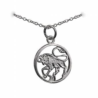 Zilver 11mm doorboord Taurus Zodiac hanger met een rolo ketting 14 inch alleen geschikt voor kinderen