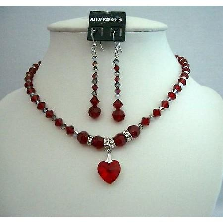 Evening Bridal Bridesmaid Siam Red Crystals Heart Pendant Jewelry Set