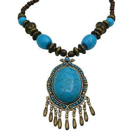 Wooden Beads Necklace Ethnic Tribal Turquoise Coated Dangling Necklace
