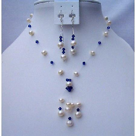 Freshwater Pearls Tassel Jewelry Swarovski Sapphire Crystals Necklace
