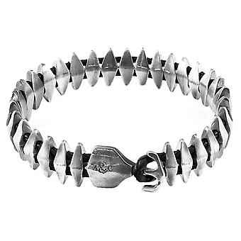 Anchor and Crew Delta Anchor Maxi Chain and Leather Bracelet - Coal Black/Silver