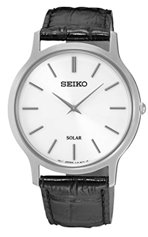 Seiko solaire Analogue de Ladies Watch avec bracelet en cuir SUP873P1