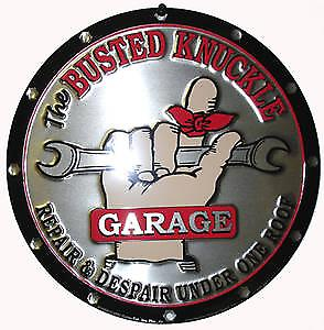 Busted Knuckle Garage round metal sign